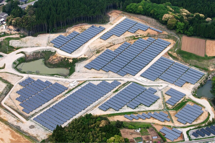 An abandoned golf course is being converted into a 23-megawatt solar power plant in Kyoto, Japan.