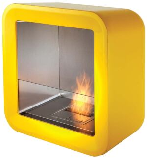 EcoSmart's Retro fireplace was inspired by 1960s pop culture motifs, with rounded corners and a tube design that suits various architectural styles. Measuring roughly 35 inches high by 35 inches wide, the indoor/outdoor unit has a fiberglass surround, sta