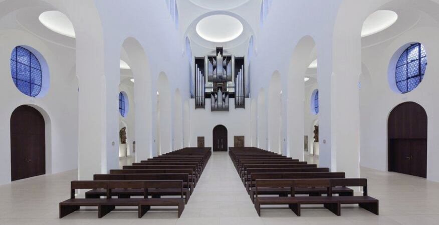A view of the main nave looking back toward the entrance.