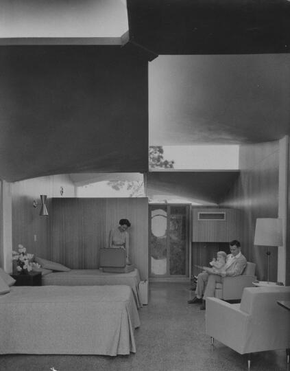Modern motel interior view.