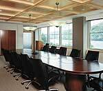 The coffered ceiling in this second-floor meeting room provides an elegant focal point for the space.