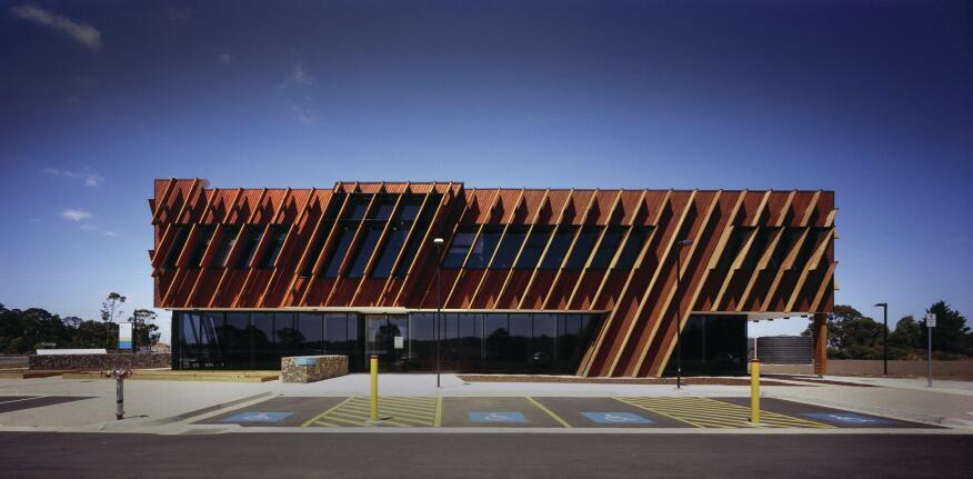 Detail Glulam Timber Fins Provide Texture And Shade