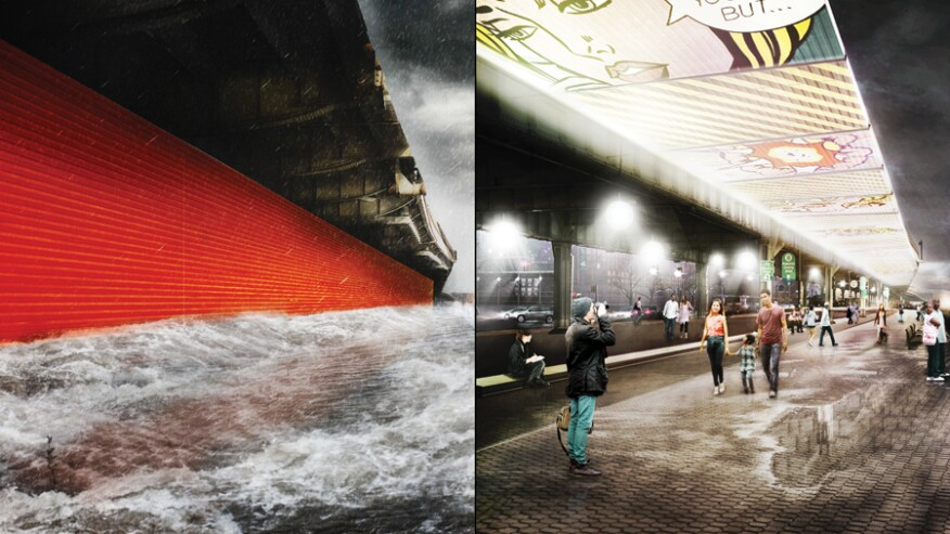The ESCR project utilizes a variety of active strategies as deployable flood gates that double as art media.