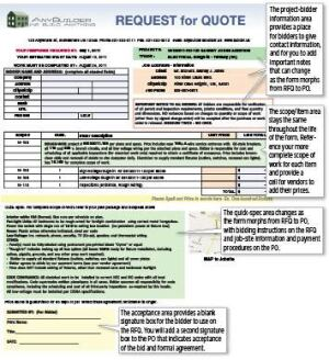 "A purchase order or work order begins as a ""request for quote"" form. The RFQ shown here, for electrical work on an addition, is ready to fax or email to subcontractors for bid pricing."
