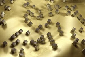 A depiction of gold film covered with light-cancelling silver nano cubes.