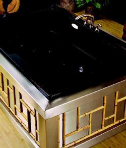 ART OF ZEN: Yubune is a Japanese-style tub with a Western flavor. The unit can be used as a still-water soaking tub, or it can be used as a whirlpool massage or thermo-air massage—or a combination of both. Made from Lucite cast acrylic, the tub measures 65 ¾ inches long and 32 inches deep. A variety of upgrades and options are also available, including a cleaning system and an air diffusion system that provides aromatherapy. MTI Whirlpools. 800-783-8827. www.mtiwhirlpools.com.