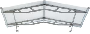 Clear or frosted weather- and UV-resistant acrylic snaps to a stainless steel frame in this sleek Lightline canopy from Feeney. A built-in aluminum gutter elegantly keeps rain from dripping on porches or steps, and a concealed rubber joint directs water a