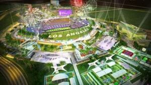 A rendering of the Los Angeles NFL stadium and masterplan, to be completed in 2016.