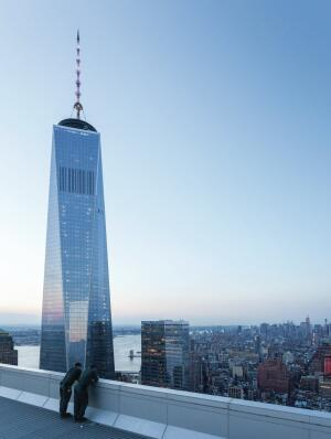 View of 1 World Trade Center from the 57th-floor terrace of Fumihiko Maki's 4 World Trade Center