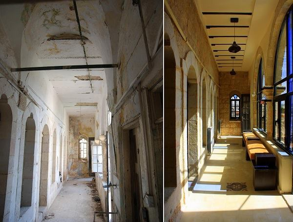 Birzeit historic center revitalization, by Riwaq. Birzeit Municipality guest house, before and after. Birzeit, Palestine.