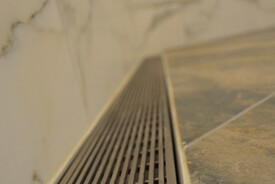 LUXE Linear Drains Ideal for Barrier-Free Shower for Senior Aging at Home on Boston's North Shore