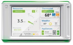 In addition to smart appliances, some manufacturers will offer dashboard systems, like this one from GE, which will give homeowners at-a-glance control of their electricity use.
