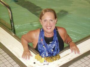 Record breaker: Dr. Jane Katz, a lifelong competitive swimmer, has participated in the Maccabiah Games in Israel since 1957. She won 13 medals last year alone.