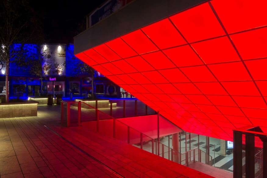 Designed by the Office for Metropolitan Architecture, the City Mall in Almere, Netherlands, uses Rosco's Custom LitePad RGB luminaires for a feature staircase.