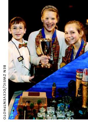 2007 Future City Competition winners Jake Bowers, Emily Ponto, and Krisha Sherburne.