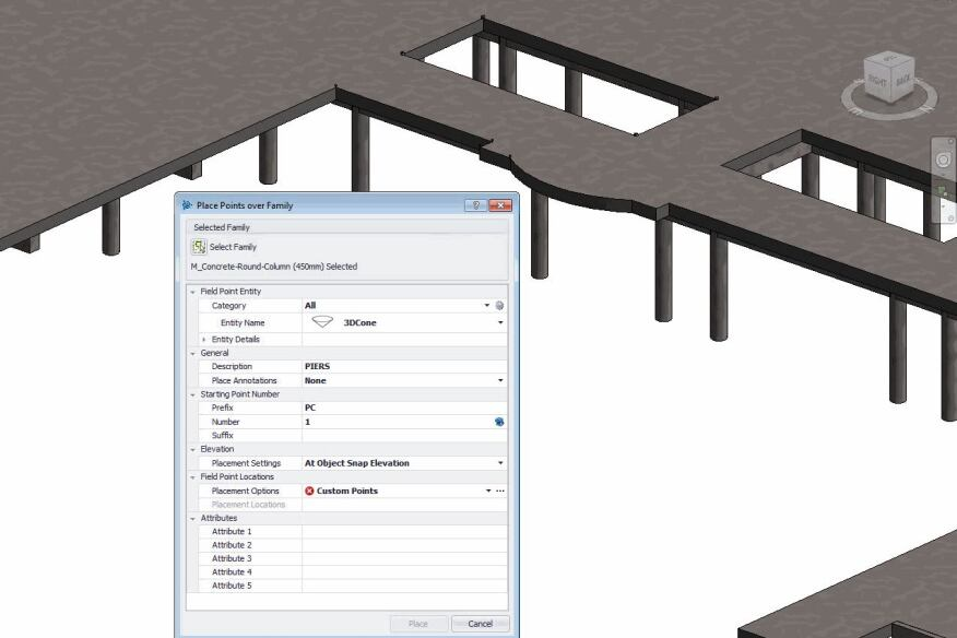 Autodesk Revit users can place field points at a specific location on one object family and then let Trimble Field Points populate all matching object family items in the building model with the field points.