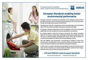 "Strengthening the ""green"" dimension of European standardization is a strategic priority for CEN, as seen in this advertisement"