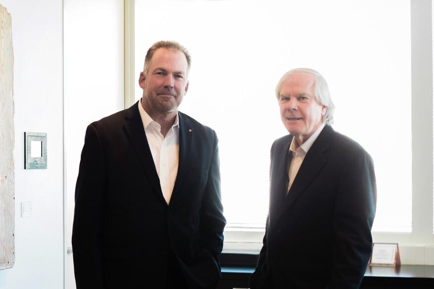 DLR Group CEO and managing principal Griff Davenport and Westlake Reed Leskosky managing principal and lead designer Paul E. Westlake Jr.