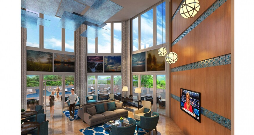 A rendering of MP Studio's design scheme for its clubhouse renovation at Bella Vida.