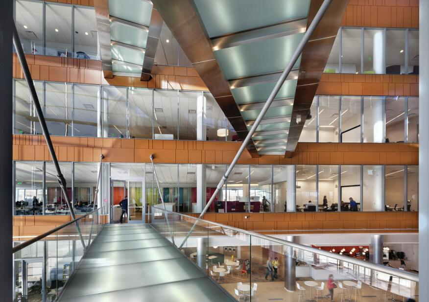 Bridges span the atrium to ease movement around the building.