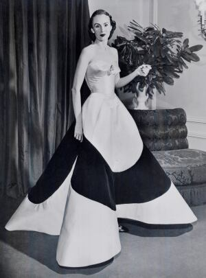 "Austine Hearst in ""Clover Leaf"" gown, ca. 1953"