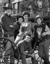 """FAMOUS RESIDENT: Amanda Blake, shown below with fellow """"Gunsmoke"""" cast members, lived at Maple Terrace Apartments."""