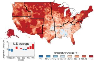 HOW HOT HAS IT GOTTEN? The colors on the map show temperature changes over the past 22 years (1991-2012) compared to the 1901-1960 average. The bars on the graphs show the average temperature changes by decade for 1901-2012 (relative to the 1901-1960 average) for each region. The period from 2001 to 2012 was warmer than any previous decade in every region.