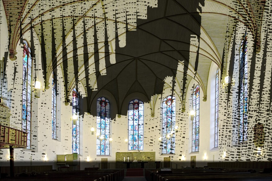 """Artists Hartung & Trenz's installation for the Katharinenkirche church is titled """"Light Diffraction."""""""