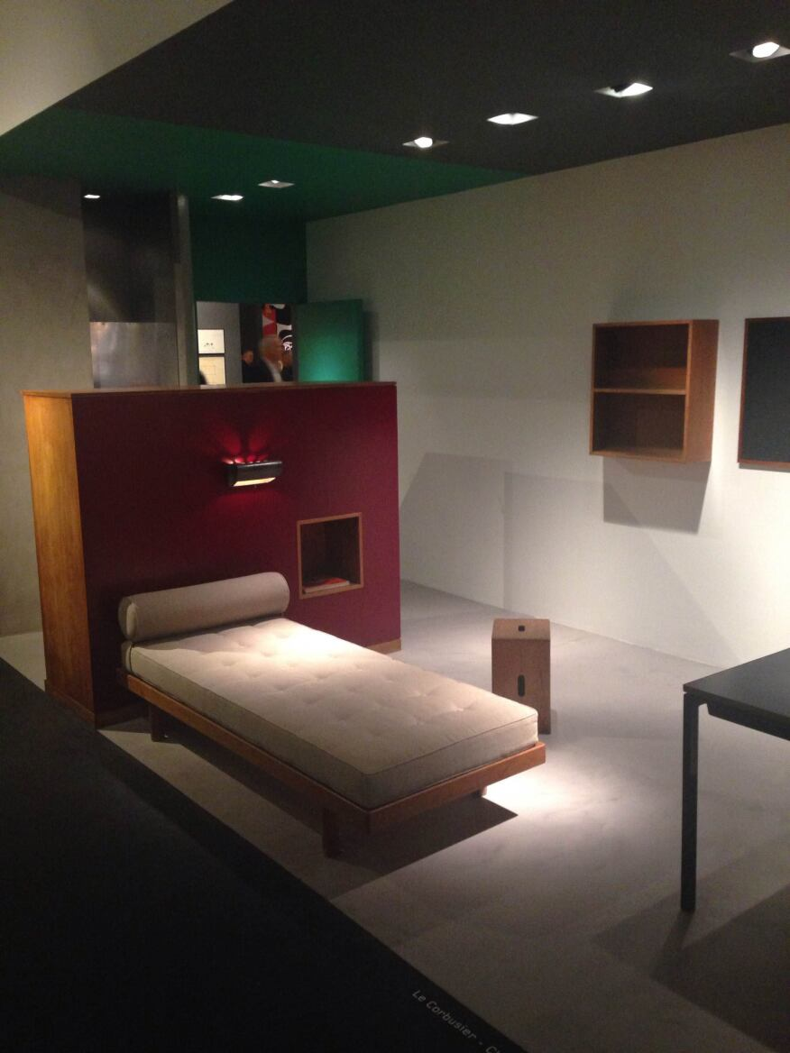 A Jean Prouvé-designed, student-housing furniture suite, exhibited by Galerie Patrick Seguin.