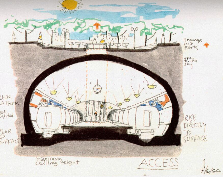 A 1966 sketch by Harry Weese, showing design concepts for the Washington, D.C. Metro system.
