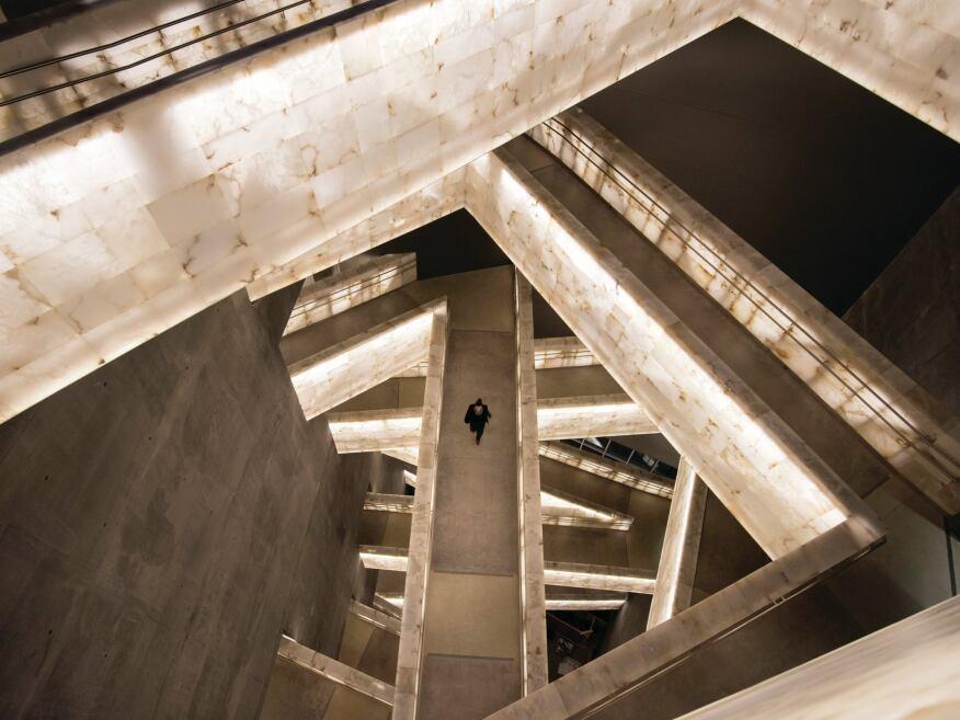 Alabaster-clad bridges linking galleries