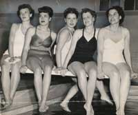Gini Doelle Tucker, part of the Popcorn Club in 1948 (above, second from right), still swims in the club today  that?s Gini second from left, surrounded by a couple of 96-year-olds, Margarete Hicken and Lilian Greene.