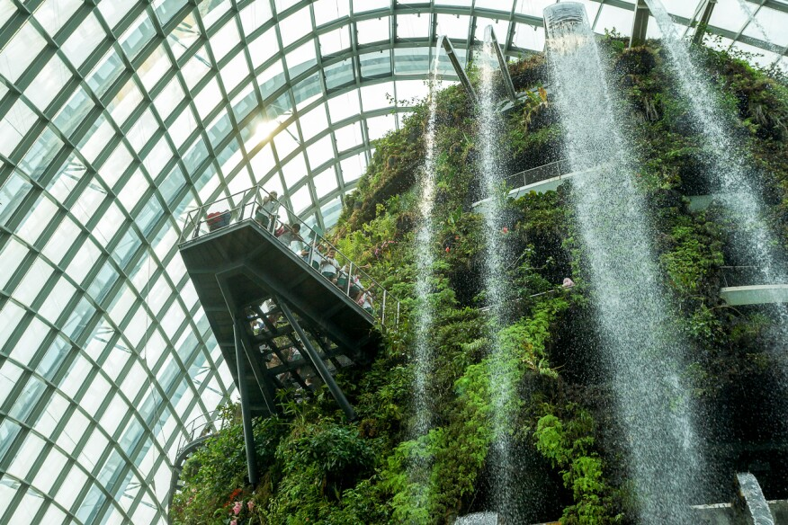 A waterfall inside one of two climate-controlled conservatories at Singapore's Gardens by the Bay park provides mist to maintain a cool, moist environment.