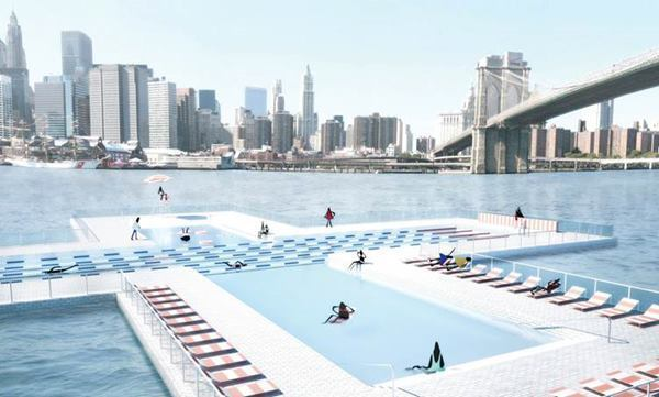 Rendering of + Pool, a proposed floating swimming pool for New York City's East River.