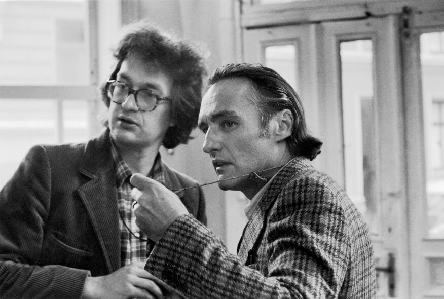 Wenders and Dennis Hopper during filming of The American Friend