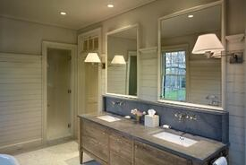 Wainscoting and Thoughtful Details Maximize Space in Modest Bath