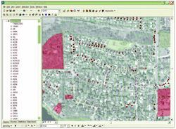 The red dots in the Cityworks GIS-centric software application indicate ash  tree locations in a city neighborhood. Photo: City of Ann Arbor, Mich.