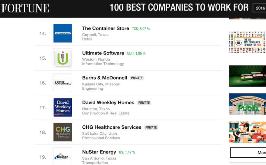 "David Weekley Homes ranks 17 among Fortune's ""100 Best Companies to Work for"" in 2016"