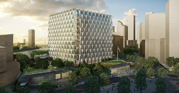 Rendering of the U.S. embassy in London, designed by KieranTimberlake.