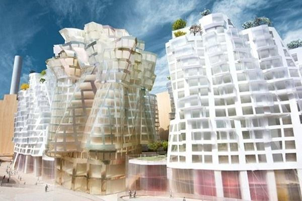 A rendering of the Flower building designed by Gehry Partners. Double-height retail storefront units anchor the buildings.