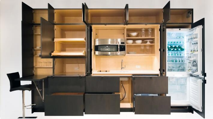 Yestertec, stealth kitchen, hidden kitchen, hidden appliances, modular kitchen