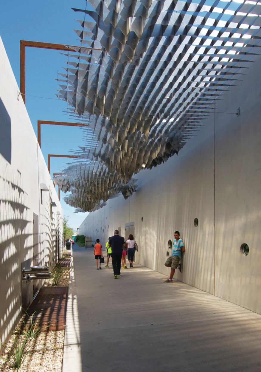 """""""Passage,"""" by local artist Matthew Moore, is installed over one of the site's many walkways."""