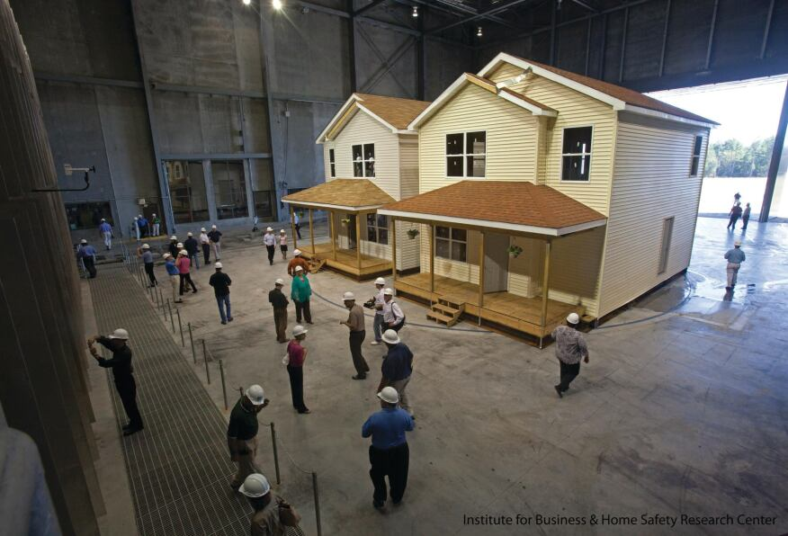 "Preparing for the Worst: Two full-sized houses were built inside the Institute for Business and Home Safety's new research center that can recreate weather ""events"" to see how well building materials hold up."