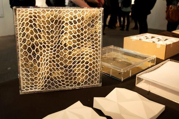 A test façade panel from the Thermal Reticulations cluster, which compared the thermal performance of different façade geometries and materials against the performance predicted through digital modeling. The team, which hailed from the Royal Melbourne Institute of Technology, wanted to investigate the uncertainty of where the physical and digital results would intersect.
