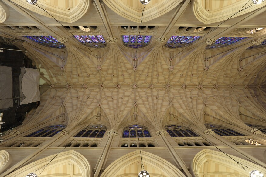 The restored nave ceiling