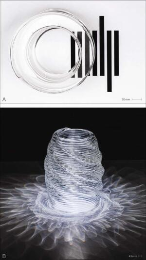 The printed objects can be: (A) polished to have a high degree of transparency; or (B) left with their printed texture to create complex caustic patterns when illuminated.