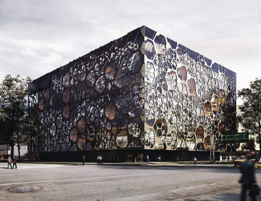 View of the hexagonal façade from the southeast.
