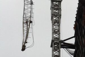 Crane Collapses in Hurricane Winds