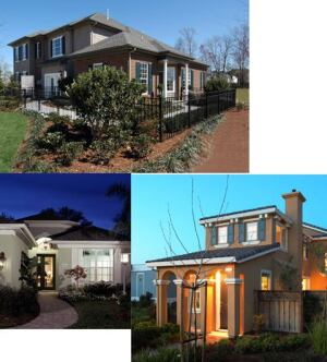 THREE OF A KIND: Best-selling communities like those pictured on the opposite page (clockwise from top: Virginia Beach, Va.; Mountain House, Calif.; and Bradenton, Fla.) may look dramatically different, but they share some significant similarities. Most notably, they tend to respond to a specific housing need or appeal to an underserved buyer in the marketplace.