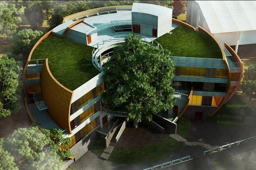 Winner, Innovation in Structural Engineering: Bhau Institute of Innovation, Entrepreneurship, and Leadership, in Pune, Maharashtra, India, by Shibanee and Kamal Architects